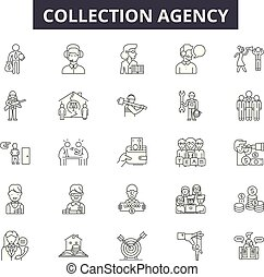 Collection agency line icons for web and mobile design. Editable stroke signs. Collection agency  outline concept illustrations