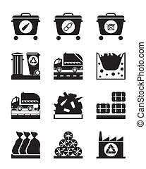 Collection and processing of garbage - vector illustration