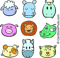 Collection animal head colorful doodles
