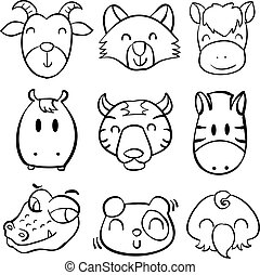 Collection animal head hand draw