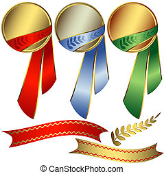 Collection awards with ribbons