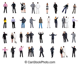 "collection ""Back view of business people"". Rear view people..."