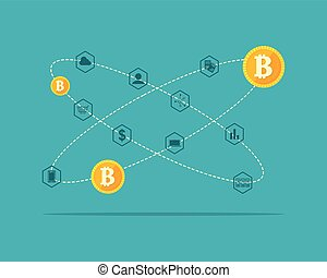 Collection background block chain theme vector illustration