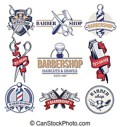 Collection badges, logos with barbershop tools. - Vector...