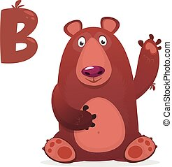 collection., bear., dier, b, vector, alfabet, illustrator, illustratie, bear'., 'b, brief