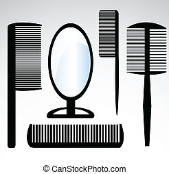 collection beauty hair salon or barber comb