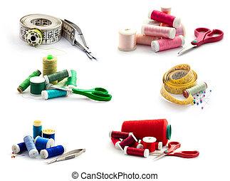 collection., biały, szycie, narzędzia, odizolowany