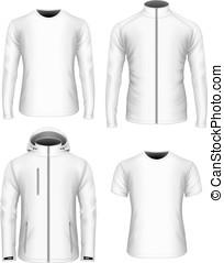 collection., bianco, vettore, mens, vestiti