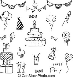 Collection bithday doodle vector art - Collection bithday of...