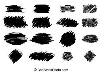 Collection black dirty design element. Grunge brush stroke,...