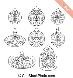 Collection black line ornate christmas ball. Decorative element. Coloring page.