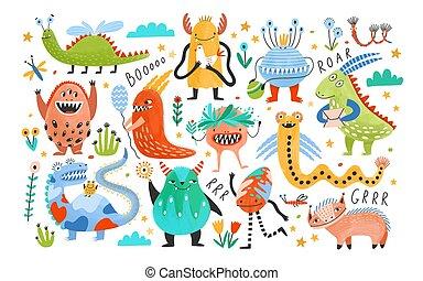 collection, blanc, conte fées, caractères, aliens., vecteur, clair, isolé, style., illustration, fantastique, puéril, dessin animé, coloré, plat, paquet, arrière-plan., creatures., ou, monstres, mignon, rigolote