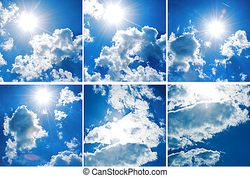 Collection blue sky with thick clouds