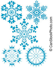 Collection blue snowflakes (vector)