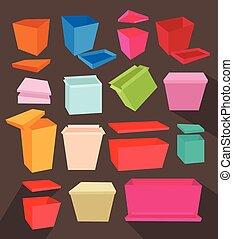 collection, boîtes, coloré, cadeau