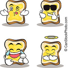 Collection bread character cartoon set