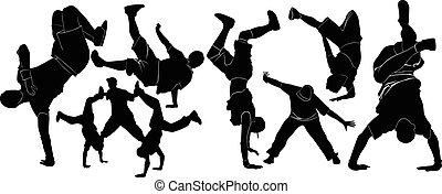 collection breakdance break dance. breakdance break dance. Silhouettes breakdancer on a white background. Vector illustration.