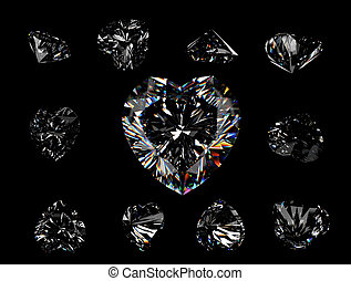 Collection brilliants shape of heart on black background