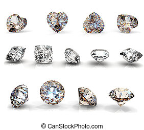 Collection brilliants shape of heart, round and square