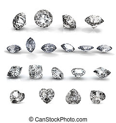 Collection brilliants shape of heart, round, Marquis and square on white background