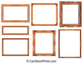 collection brownframe isolated on white background, clipping path