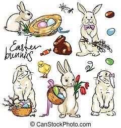 collection., bunnies, pasen