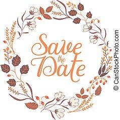 collection., cadre, signe, automne, floral, mariage, date, sauver