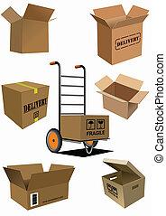 collection., caixas, vetorial, doente, caixa papelão