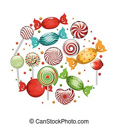 collection candies lollipop design graphic