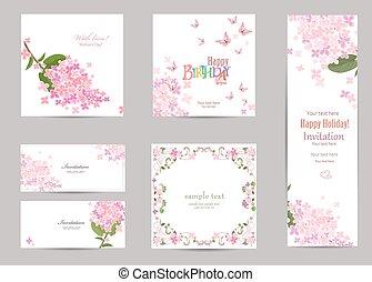 collection, cartes, lilas, ton, desig, fleur, salutation