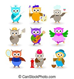 Collection cartoon owls of different professions. Doctor, painter, waiter, builder, guitarist, ballerina, tennis player, fireman, farmer.