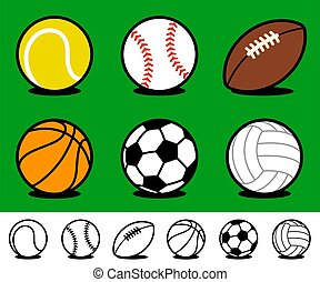 Collection cartoon sports ball icons