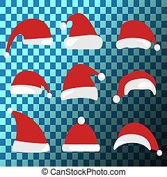 collection., chapéus, claus, chapéu santa, natal, set.