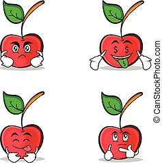 Collection cherry character cartoon style set