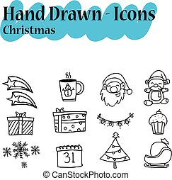 Collection Christmas icon set hand draw