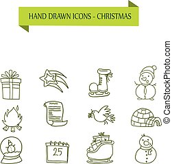 Collection Christmas object icons vector
