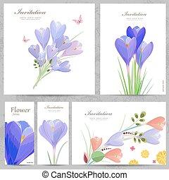 collection, colchique, invitation, cartes, ton, design.