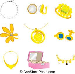 collection, coloré, accesories