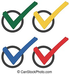 collection colored check marks