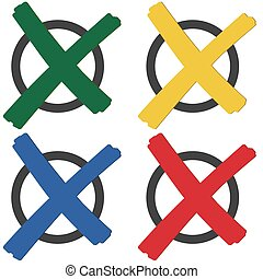 collection colored crosses