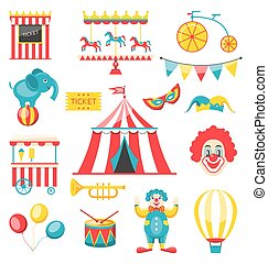 Collection Colorful Elements for Circus and Carnival -...