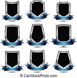 collection, conception, symbolique, shields., élément, graphique, charmant, 3d, gris, vecteur, contour, objets, argent, raies, ondulé, clair, héraldique, noir, 8, protection, eps, icônes