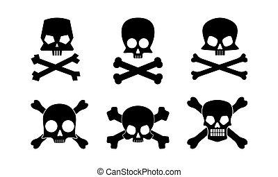 collection, crâne, silhouettes, os croisés