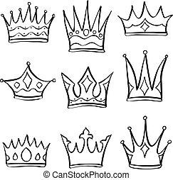 Collection crown various doodle set