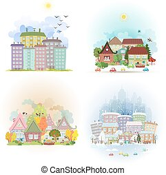 collection cute cards with sunny cityscape in different times of
