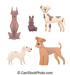 Collection cute different type of dogs small and big. Cartoon illustrations happy doggy or puppy. Pet animal clip art characters for veterinarian design