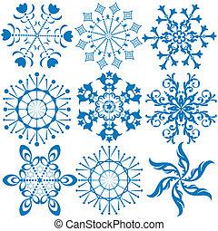 Collection dark blue snowflakes (vector)