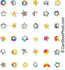 collection, de, étoile, icônes, vecteur