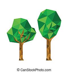 collection, de, 2, différent, origami, arbre
