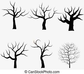 collection, de, arbres, silhouettes